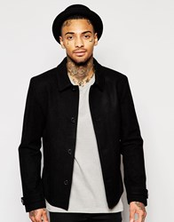 Asos Wool Mix Harrington Jacket In Black