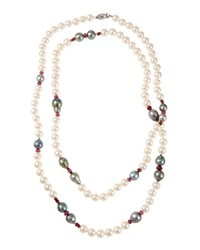 Belpearl Long Mixed Tahitian And Freshwater Pearl Necklace W Pink Sapphires Women's