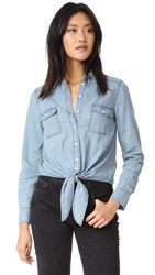 Cupcakes And Cashmere Ayres Tie Front Shirt Chambray