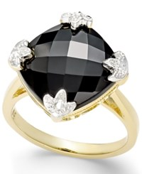 Macy's Onyx 16Mm Statement Ring In 14K White Or Yellow Gold Black