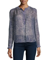 Rebecca Taylor Long Sleeve Static Print Top Dewberry Dewberry Combo