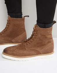 Frank Wright Brogue Boots In Tan Suede Tan
