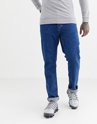 River Island Relaxed Fit Jeans In Mid Wash Blue