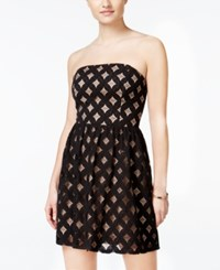 Jump Juniors' Lattice Lace Fit And Flare Dress Black Nude