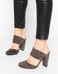 Warehouse Suede Heeled Mules Grey