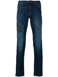 Emporio Armani Slight Bootcut Washed Jeans Blue