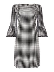 Oui Gingham Flute Sleeve Dress With Eyelet Detail Black