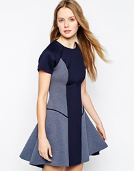 Liquorish Structured Skater Dress In Bonded Scuba Navy