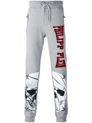 Philipp Plein Skull Print Jogging Pants Men Cotton S Grey