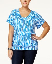 Jm Collection Woman Jm Collection Plus Size Short Sleeve Printed Blouse Only At Macy's Blue