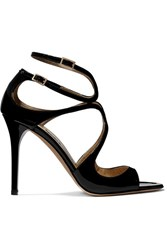 Jimmy Choo Lang 100 Patent Leather Sandals Black