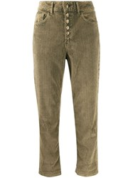 Dondup Cropped Corduroy Trousers Green