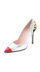 Kate Spade Lunar Pointed Toe Pumps Silver Maraschino Red