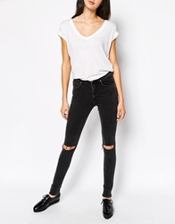 Dr. Denim Dr Denim Arlene Skinny Jeans With Ripped Knees Black