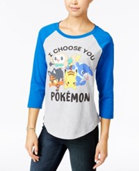 Mighty Fine Juniors' Pokemon Graphic Raglan Heather Grey