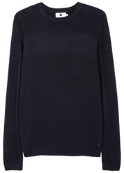 Nn.07 Henrik Navy Textured Cotton Jumper