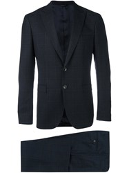 Tonello Plaid Slim Fit Suit Blue