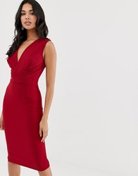 Girl In Mind Wrap Front Midi Dress Red