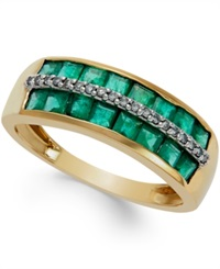 Macy's Emerald 1 3 8 Ct. T.W. And Diamond Accent Band In 14K Gold