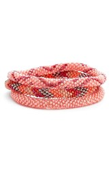 Women's Aid Through Trade Roll On Beaded Stretch Bracelets Pink Set Of 3