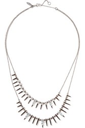 Alexis Bittar Gunmetal Tone Crystal Necklace Blue