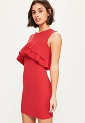 Missguided Red Crepe Sleeveless Frill Bodycon Dress