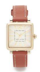 Marc Jacobs Vic Leather Watch Gold White Tan