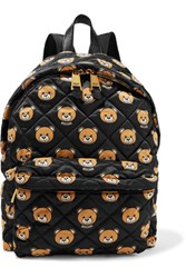 Moschino Leather Trimmed Quilted Printed Shell Backpack Black