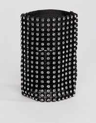 Monki Diamante Wide Bracelet Black