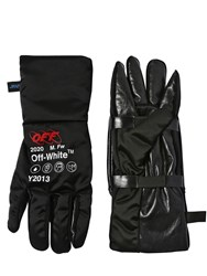 Off White Tech And Leather Pouch Gloves Black