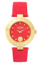 Versus By Versace Women's New Logo Leather Strap Watch 34Mm Red Gold
