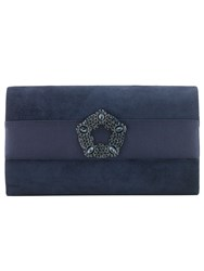 Phase Eight Georgie Suede Clutch Bag Navy