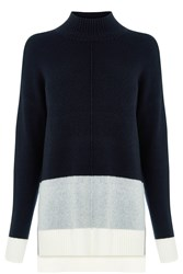 Oasis Colourblock Funnel Neck Knit Navy