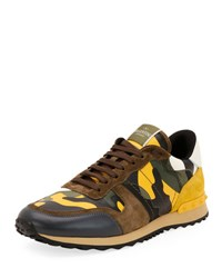 Valentino Men's Rockrunner Camo Leather Sneaker Yellow Yellow Pattern