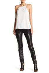 Versus By Versace Genuine Leather And Lace Pant Black