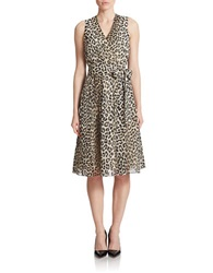 Anne Klein Leopard Print Wrap Dress Tan Combo