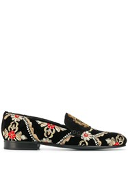 Dolce And Gabbana Logo Embroidered Loafers Black