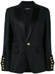 Dsquared2 Classic Blazer Women Silk Polyester Viscose Virgin Wool 44 Black