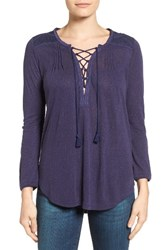 Lucky Brand Women's Lace Up Peasant Top