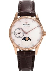 Zenith 22.2310.692 81.C709 Moonphase Automatic Rose Gold And Leather Strap Watch