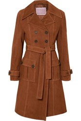 Alexachung Belted Suede Coat Brown