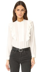 Rebecca Taylor Long Sleeve Silk Ruffle Top Snow