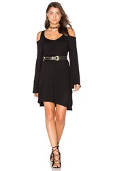 Chaser Double V Cold Shoulder Mini Dress Black
