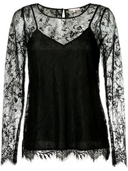 Gold Hawk Long Sleeved Lace Top Black