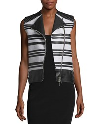 Cnc Costume National Sleeveless Asymmetric Zip Leather Waistcoat Black White Women's