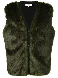 Opening Ceremony Faux Fur Buttoned Gilet Green