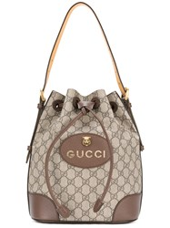 Gucci Gg Supreme Backpack Women Cotton Leather One Size Brown
