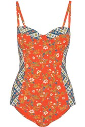 Tory Burch Batik Floral Print Underwired Swimsuit Papaya
