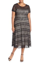 Plus Size Women's Sangria Sequin Lace Fit And Flare Dress