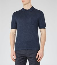 Reiss Gordon Mens Wool And Linen Polo Shirt In Blue